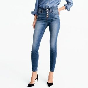 J. Crew Toothpick Jean Daly Wash w/ Button Fly